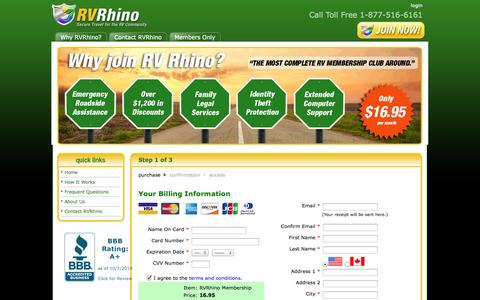 Screenshot of Signup Page rvrhino.com - RVRhino Join Now - captured Oct. 7, 2014