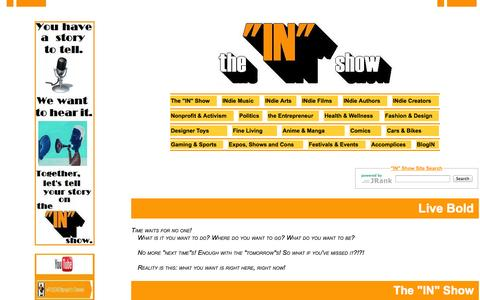 """Screenshot of About Page theinshow.com - The """"IN"""" Show:  the Place you go to be in the Know.  Starting in Los Angeles and heard around the world!  Listen in on 99.3KCLAfm or straight from the site:  theINshow.com! - captured Sept. 30, 2014"""
