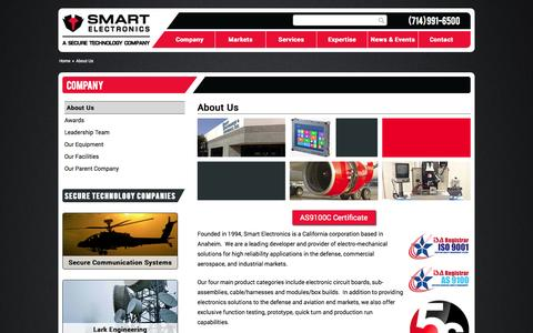 Screenshot of About Page smartelec.com - About Us - Smart Electronics - captured Oct. 9, 2014