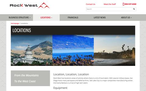 Screenshot of Locations Page 1rockwest.com - Locations – Rock West Corporate - captured Oct. 19, 2018