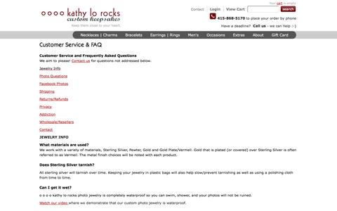 Screenshot of FAQ Page kathylo.com - Custom Photo Jewelry | custom Photo necklaces | custom photo charms | custom photo keepsakes | Frequently Asked Questions - captured Oct. 27, 2014