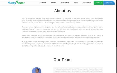 Screenshot of About Page happy-visitor.com - Visitor Management Product -  About Us - captured July 11, 2016