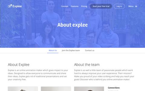 Screenshot of About Page explee.com - Online animation maker - The team behind Explee - captured Oct. 1, 2015