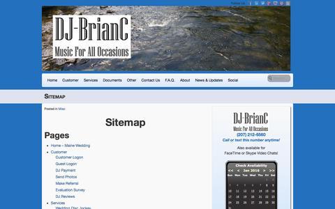 Screenshot of Site Map Page djbrianc.us - Sitemap of DJ-BrianC - captured Jan. 7, 2016