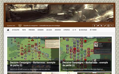 Screenshot of Home Page wargamer.fr - Gazette du wargamer   L'actualitŽ des wargames et des jeux de stratŽgie - captured Jan. 15, 2016