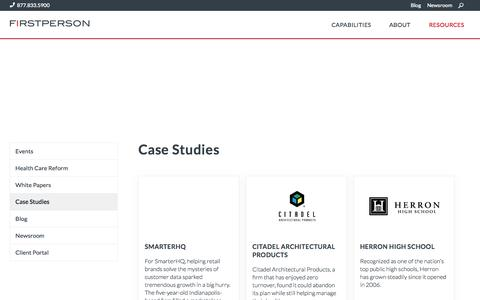 Screenshot of Case Studies Page firstpersonadvisors.com - FirstPerson Client Successes - captured Nov. 18, 2015