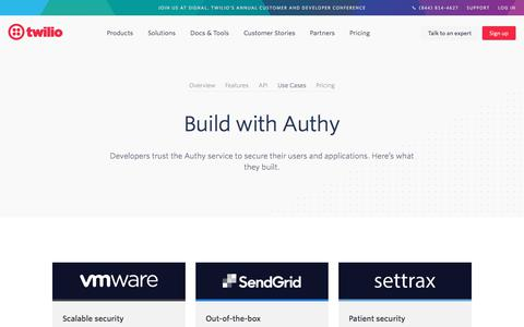 Screenshot of Case Studies Page twilio.com - Authy 2FA • Twilio Advanced Authentication for mobile and web apps. - captured Nov. 28, 2019