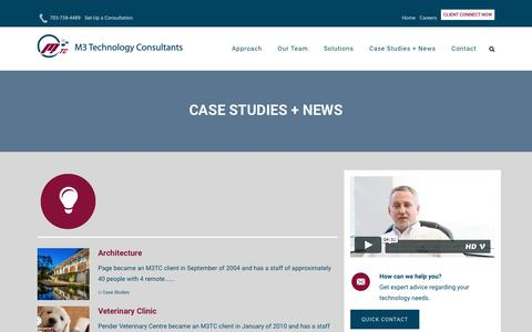 Screenshot of Case Studies Page m3tc.com - Case Studies + News – M3 Technology Consultants - captured May 17, 2017