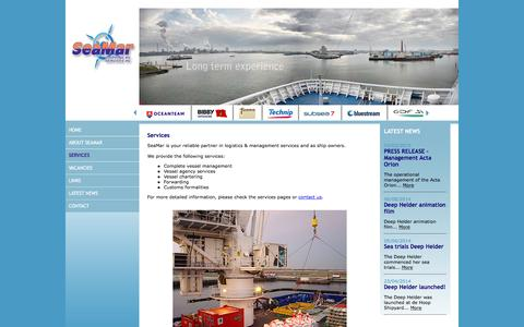 Screenshot of Services Page seamar.nl - SeaMar - Services - offshore - Vessel management - Vessel agency services - Shipping - Customs formalities - Freight Forwarding - captured Feb. 4, 2016
