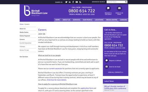 Screenshot of Jobs Page birchallblackburn.co.uk - Birchall Blackburn | Careers - captured Oct. 5, 2014