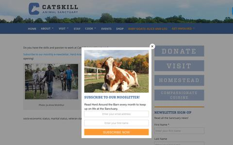 Screenshot of Jobs Page casanctuary.org - Jobs | Catskill Animal Sanctuary - captured Sept. 27, 2018