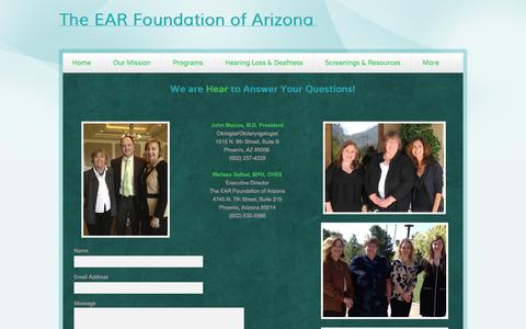 Screenshot of Contact Page webs.com - The EAR Foundation of Arizona - Contact Us - captured Oct. 26, 2014