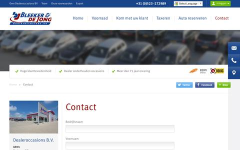 Screenshot of Contact Page dealeroccasions.eu - Contact Dealeroccasions BV  | Dealeroccasions B.V. - captured Feb. 7, 2016