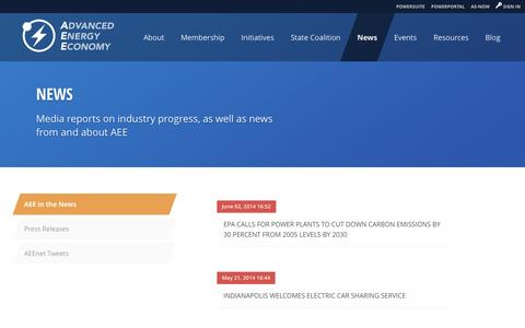 Screenshot of Press Page aee.net - AEE    News - Media reports on industry progress, as well as news from and about AEE - captured Oct. 4, 2014