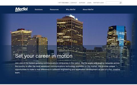 Screenshot of Jobs Page mettel.net - Careers - captured Jan. 10, 2016