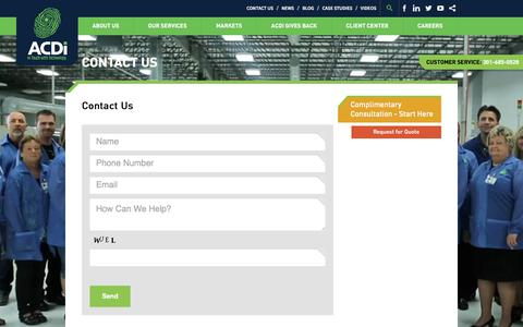 Screenshot of Contact Page acdi.com - Contact ACDI Electronics Manufacturer in Frederick, MD & Nashville, NC - captured Oct. 6, 2017