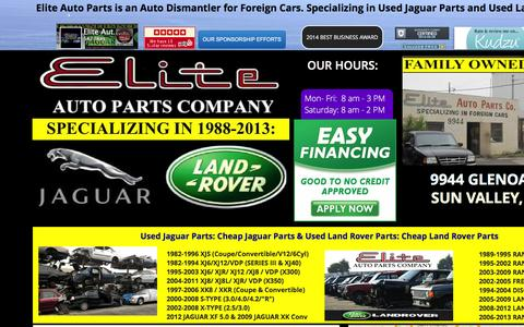 Screenshot of Home Page eliteautopartsinc.com - Elite Auto Parts Specializing in Used Jaguar Parts and Used Land Rover Parts - captured Jan. 27, 2016