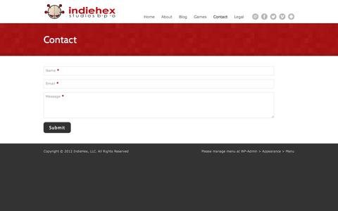 Screenshot of Contact Page indiehex.com - Contact - IndiehexIndiehex - captured Oct. 6, 2014