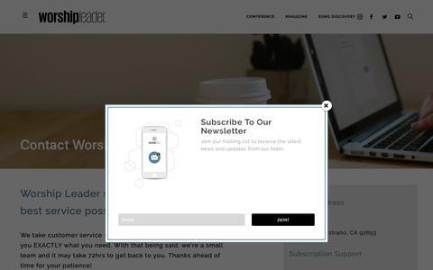 Screenshot of Contact Page worshipleader.com - Contact Worship Leader - Worship Leader - captured April 2, 2019