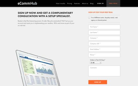 Screenshot of Trial Page ecommhub.com - eCommHub | Free Trial - captured Oct. 28, 2014
