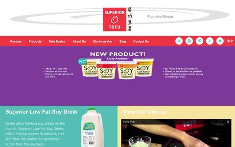 Screenshot of Home Page superiortofu.com - Superior Tofu 2015 - captured Aug. 4, 2015