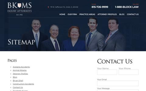 Screenshot of Site Map Page blocklaw.com - Sitemap | Block, Klukas, Manzella & Shell, P.C. - Personal Injury Attorneys - captured Oct. 6, 2018
