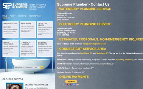 Screenshot of Contact Page supremeplumber.com - plumber waterbury | plumber southbury | water heater ct | supreme plumber - Contact - captured July 19, 2019