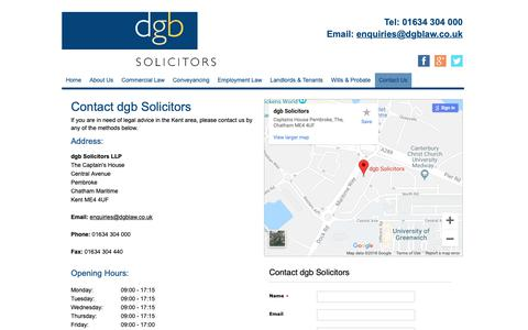 Screenshot of Contact Page dgblaw.co.uk - Expert legal advice in Kent | dgb Solicitors - captured Oct. 9, 2018