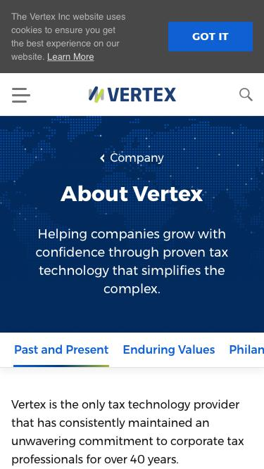 Screenshot of About Page  vertexinc.com - Past and Present    Vertex, Inc.