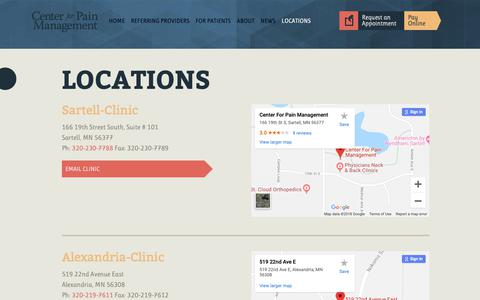 Screenshot of Contact Page Locations Page centerforpainmanagement.org - LOCATIONS     Center For Pain Management - captured Sept. 27, 2018