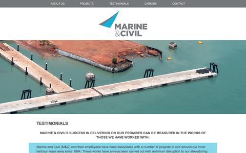 Screenshot of Testimonials Page marineandcivil.com - marineandcivil   TESTIMONIALS - captured Nov. 19, 2016