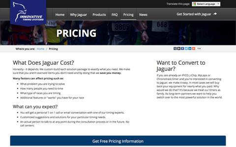 Screenshot of Pricing Page innovativetimingsystems.com - Pricing Information | Innovative Timing Systems - captured Jan. 8, 2016