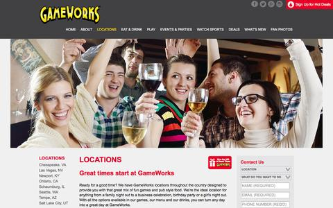 Screenshot of Locations Page gameworks.com - Locations | GameWorks - captured Oct. 22, 2014