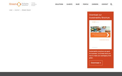 Screenshot of Privacy Page ernestpackaging.com - Privacy Policy - Ernest PackagingErnest Packaging - captured Sept. 29, 2018