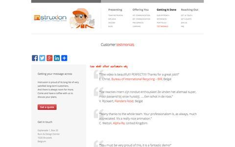 Screenshot of Testimonials Page instruxion.com - Customer testimonials - captured Sept. 30, 2014