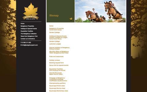Screenshot of Site Map Page bedgeburypark.com - Site Map - Bedgebury Park - captured Sept. 30, 2014