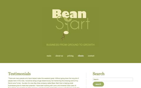 Screenshot of Testimonials Page beanstart.com - Testimonials - captured Sept. 30, 2014