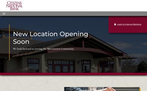 Screenshot of Home Page cnbtn.com - Citizens National Bank - captured Sept. 28, 2018