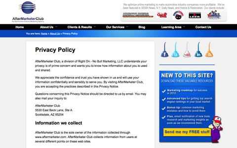 Screenshot of Privacy Page aftermarketerclub.com - AfterMarketer Club privacy policy - captured Sept. 30, 2014