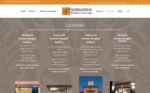 Screenshot of Locations Page normandeauwc.com - Normandeau Window Covering Locations | Normandeau Window Coverings - captured Oct. 18, 2018