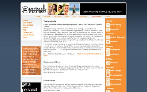 Screenshot of Testimonials Page personallyorganised.com.au - Testimonials - Personally Organised - captured Nov. 5, 2016