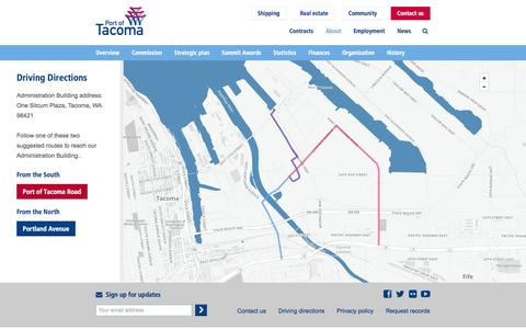 Screenshot of Maps & Directions Page portoftacoma.com - Driving directions | Port of Tacoma - captured Oct. 28, 2014