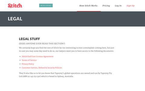 Screenshot of Privacy Page stitch.net - Legal - Stitch - captured Sept. 17, 2014