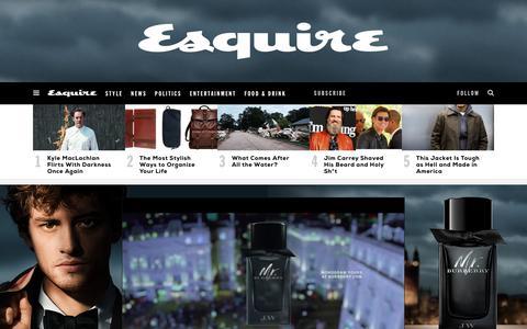 Screenshot of Home Page esquire.com - Esquire - Men's Fashion, Cocktails, Politics, Interviews, and Women - captured Sept. 7, 2017
