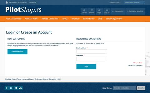 Screenshot of Login Page pilotshop.rs - Customer Login - captured Nov. 13, 2016
