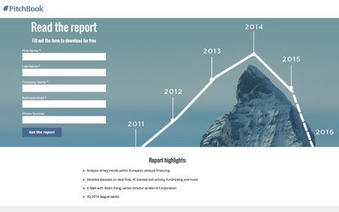 Screenshot of Landing Page pitchbook.com - PitchBook 3Q 2016 European Venture Industry Report - captured Oct. 22, 2016