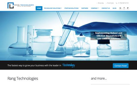 Screenshot of Home Page rangtech.com - Rang Technologies - Staffing Solutions | Web & Digital Analytics, Biostatistics, Financial & Healthcare - captured Nov. 12, 2017