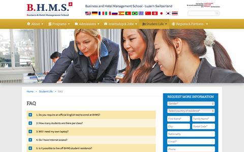 Screenshot of FAQ Page bhms.ch - FAQ-Business Hotel Management School Luzern Switzerland - captured Sept. 23, 2018