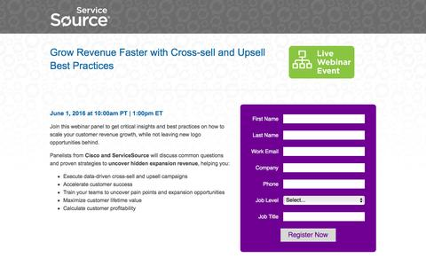 Screenshot of Landing Page servicesource.com - Grow Revenue Faster with Cross-sell and Upsell Best Practices - captured May 20, 2016