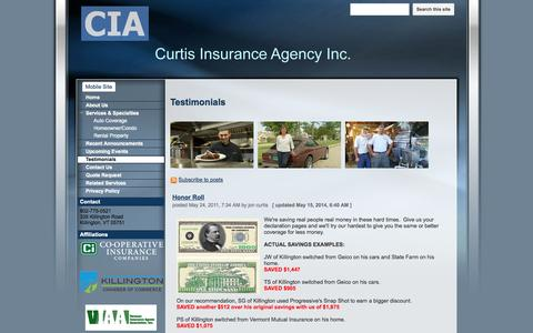 Screenshot of Testimonials Page curtisinsuranceagency.net - Testimonials - Curtis Insurance Agency - captured Oct. 3, 2014